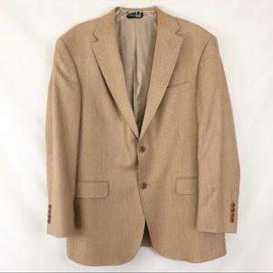 Tommy Hilfiger Tan Suit Jacket Silk Blend Sz 42 R